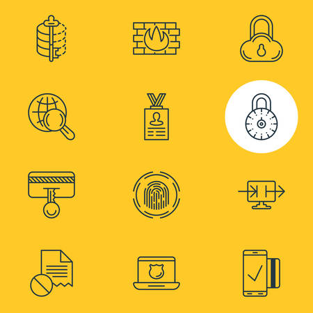 Vector Illustration Of 12 Data Icons. Editable Pack Of Finger Identifier, Encoder, Safe Lock And Other Elements.