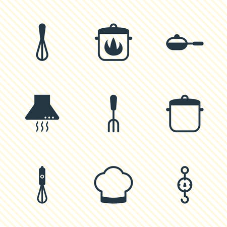 browning: Vector Illustration Of 9 Cooking Icons. Editable Pack Of Pan, Corolla, Handmixer Elements.