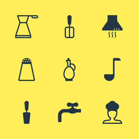 Vector Illustration Of 9 Cooking Icons. Editable Pack Of Cook, Kettle, Extractor Appliance And Other Elements.
