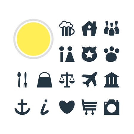 Vector Illustration Of 16 Location Icons. Editable Pack Of Handbag, Anchor, Skittles Elements.