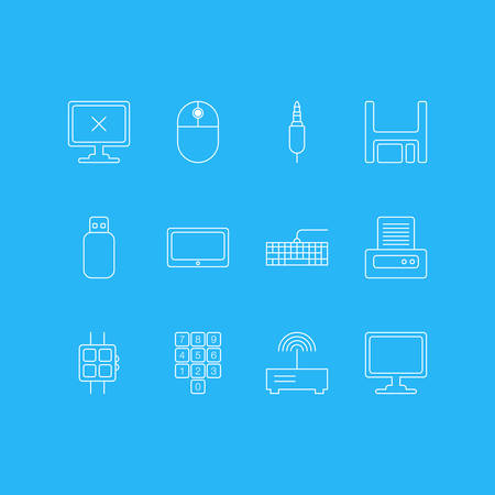 Vector Illustration Of 12 Computer Icons. Editable Pack Of Access Denied, Screen, Diskette And Other Elements.