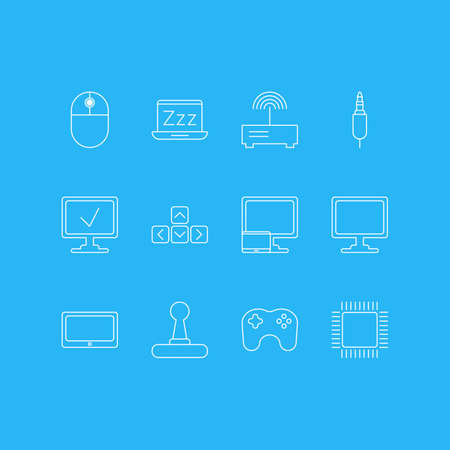 Vector Illustration Of 12 Notebook Icons. Editable Pack Of Microprocessor, Router, Gamepad And Other Elements.