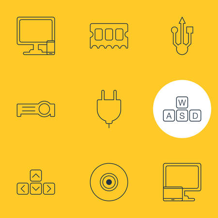 Vector Illustration Of 9 Laptop Icons. Editable Pack Of Keyboard, Keypad, Phone Near Computer And Other Elements.