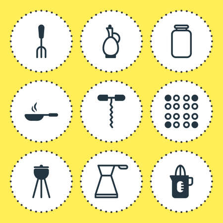 bbq barrel: Vector Illustration Of 9 Cooking Icons. Editable Pack Of Fork, Frying Pan, Shaker And Other Elements. Illustration