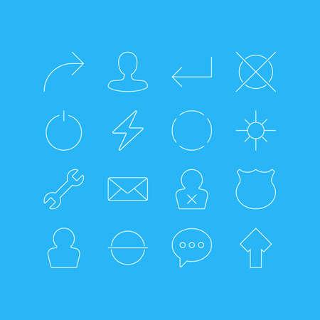 16 사용자 인터페이스 아이콘의 벡터 일러스트 레이 션. 편집 가능한 볼트 볼트, 제거, 햇빛 및 기타 요소. 일러스트