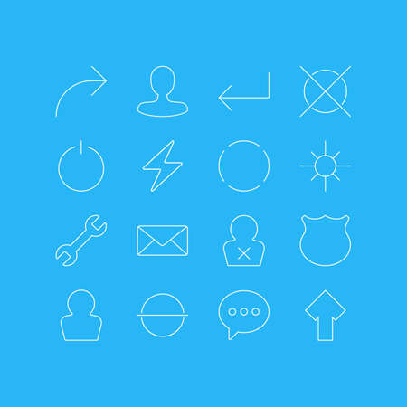 Vector Illustration Of 16 User Interface Icons. Editable Pack Of Bolt, Remove, Sunshine And Other Elements.
