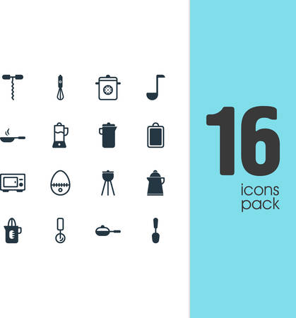 coking: Vector Illustration Of 16 Restaurant Icons. Editable Pack Of Tablespoon, Pan, Round Slicer And Other Elements. Illustration