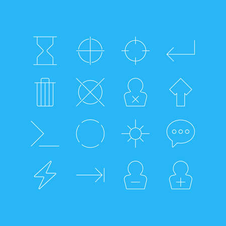 Vector Illustration Of 16 Interface Icons. Editable Pack Of Banned Member, Screen Capture, Repeat And Other Elements.