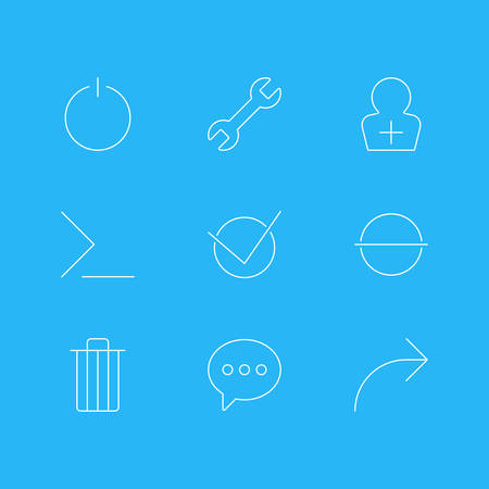 Vector Illustration Of 9 User Interface Icons. Editable Pack Of Wrench, Share, Message And Other Elements. Illustration