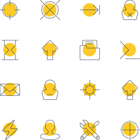 focalize: Vector Illustration Of 16 Interface Icons. Editable Pack Of Sunshine, Cancel, Remove User And Other Elements. Illustration