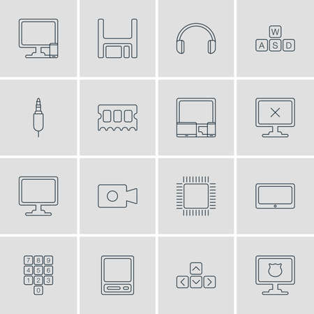 Vector Illustration Of 16 Notebook Icons. Editable Pack Of Memory Chip, Number Keypad, Keyboard And Other Elements.