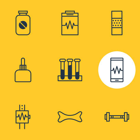 diastolic: Vector Illustration Of 9 Medicine Icons. Editable Pack Of Dumbbell, Phone Monitor, Medicament Pitcher And Other Elements.