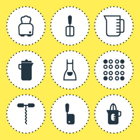 Vector Illustration Of 9 Kitchenware Icons. Editable Pack Of Smock, Bread, Shaker And Other Elements.