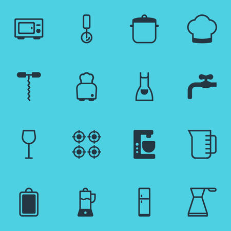 Vector Illustration Of 16 Cooking Icons. Editable Pack Of Furnace, Wine Opener, Fruit Squeezer And Other Elements.