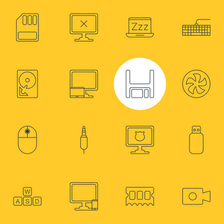 Vector Illustration Of 16 Notebook Icons. Editable Pack Of Hard Drive Disk, Diskette, Laptop And Other Elements.