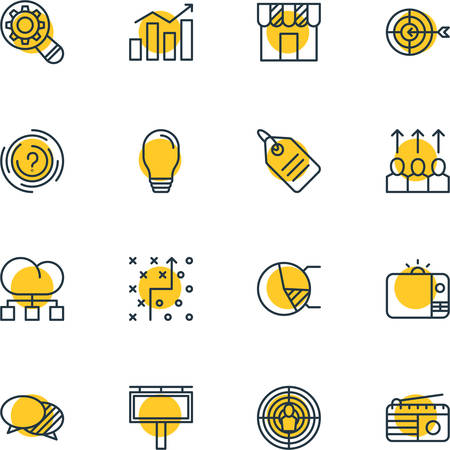 discussing: Vector Illustration Of 16 Ad Icons. Editable Pack Of Statistics, Goal, Circle Diagram And Other Elements.