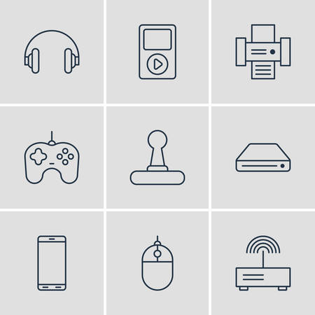 ink jet: Vector Illustration Of 9 Device Icons. Editable Pack Of Media Controller, Game Controller, Photocopier And Other Elements.