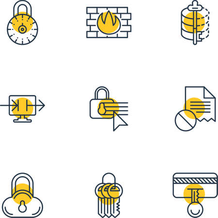 pad: Vector Illustration Of 9 Internet Security Icons. Editable Pack Of Safe Lock, Network Protection, Data Error And Other Elements.