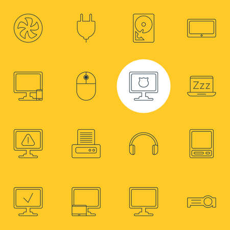 Vector Illustration Of 16 Laptop Icons. Editable Pack Of Screen, Antivirus, Cooler And Other Elements.