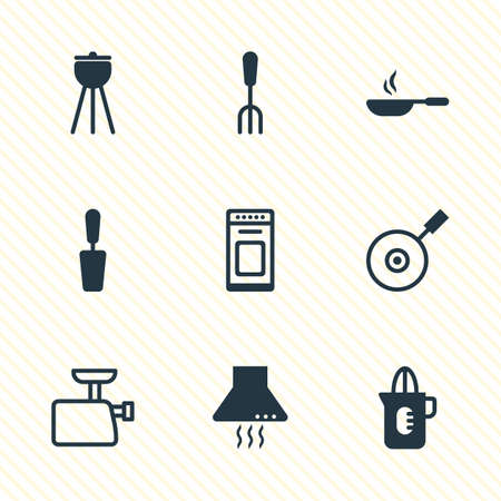 browning: Vector Illustration Of 9 Cooking Icons. Editable Pack Of Oven, Barbecue, Shaker And Other Elements.