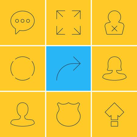 9 사용자 인터페이스 아이콘의 벡터 일러스트 레이 션. 편집 가능한 가드, 남자 구성원, 메시지 및 다른 요소의 팩.