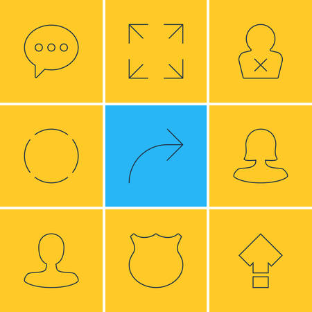 Vector Illustration Of 9 User Interface Icons. Editable Pack Of Guard, Man Member, Message And Other Elements.