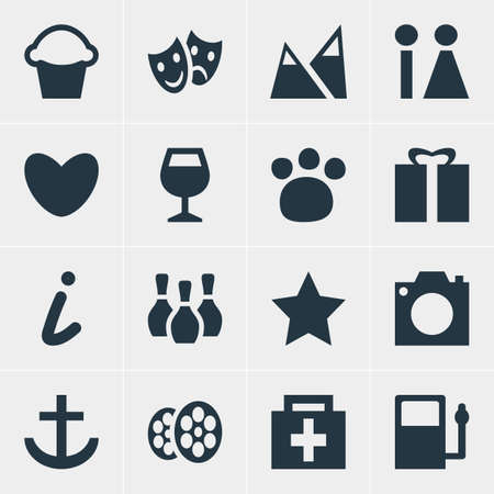 spare: Vector Illustration Of 16 Location Icons. Editable Pack Of Wineglass, Landscape, Anchor Elements. Illustration