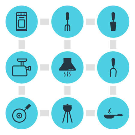 Vector Illustration Of 9 Kitchenware Icons. Editable Pack Of Spatula, Fork, Extractor Appliance And Other Elements.