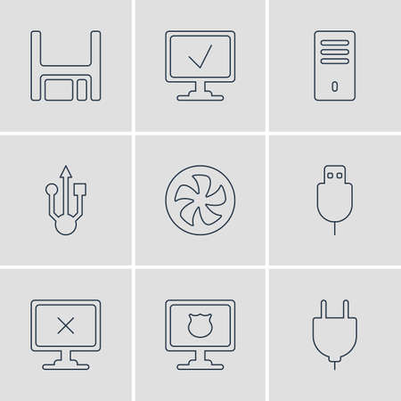 Vector Illustration Of 9 Computer Icons. Editable Pack Of Access Denied, Cooler, Usb Icon And Other Elements.