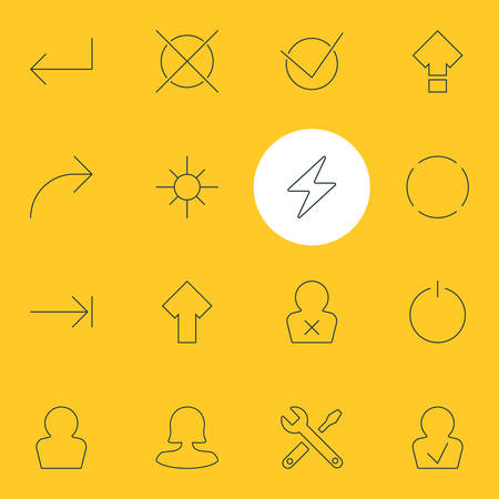 Vector Illustration Of 16 Interface Icons. Editable Pack Of Bolt, Upward, Cancel And Other Elements. Illustration