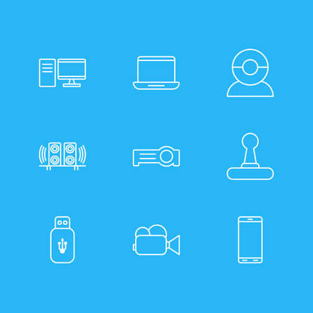 Vector Illustration Of 9 Accessory Icons. Editable Pack Of Floodlight, Game Controller, Computer And Other Elements.