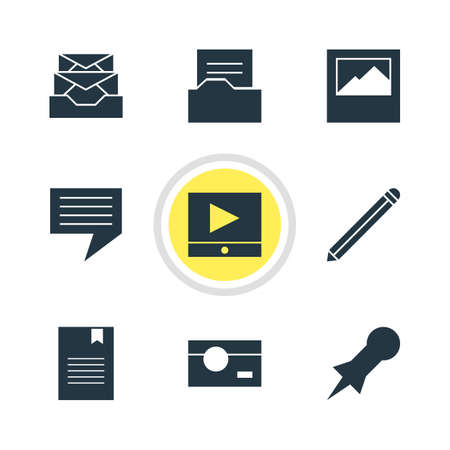 tack: Vector Illustration Of 9 Online Icons. Editable Pack Of Bookmark, Play Button, Document Directory And Other Elements.