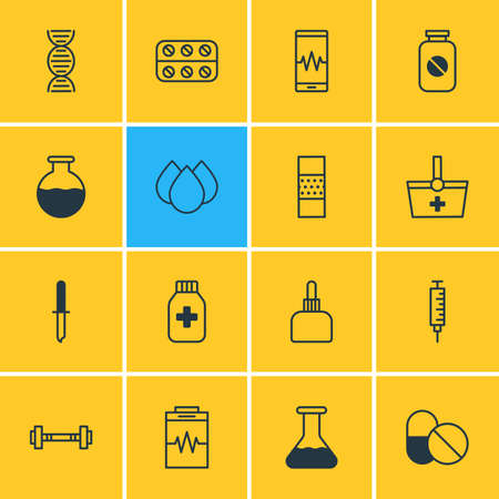 diastolic: Vector Illustration Of 16 Health Icons. Editable Pack Of Pipette, Trickle, Vial And Other Elements.