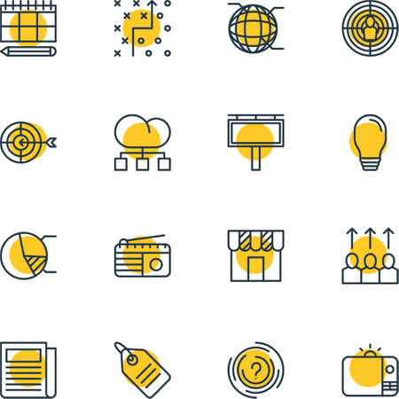Vector Illustration Of 16 Social Icons. Editable Pack Of Schedule, Advertising Billboard, Tactical Plan And Other Elements.