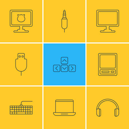 Vector Illustration Of 9 Computer Icons. Editable Pack Of Qwerty Board, Notebook, Input Jack And Other Elements. Illustration