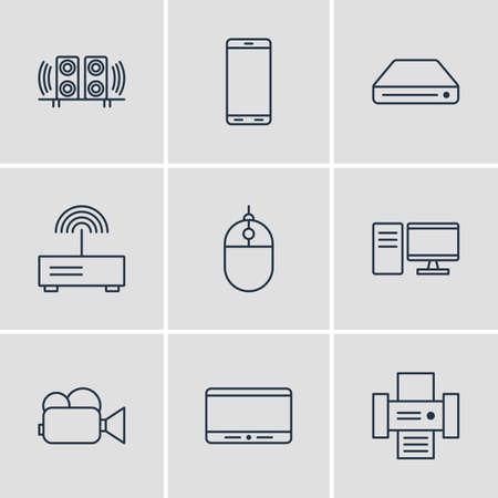 Illustrazione Vettoriale Di 9 Icone Gadget. Pacchetto modificabile del regolatore del cursore, fotocopiatrice, smartphone ed altri elementi.
