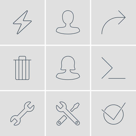 Vector Illustration Of 9 UI Icons. Editable Pack Of Startup, Wrench, Maintenance And Other Elements.