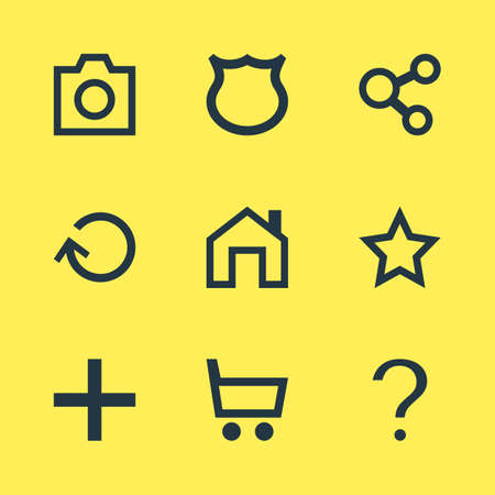 Illustration Of 9 Member Icons. Editable Pack Of Publish, Help, Asterisk And Other Elements.