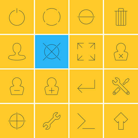 Illustration Of 16 User Interface Icons. Editable Pack Of Man Member, Wide Monitor, Garbage And Other Elements.