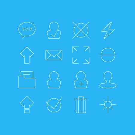 16 사용자 인터페이스 아이콘의 그림입니다. 등록 계정, 와이드 모니터, 아바타 및 기타 요소 편집 가능한 팩.