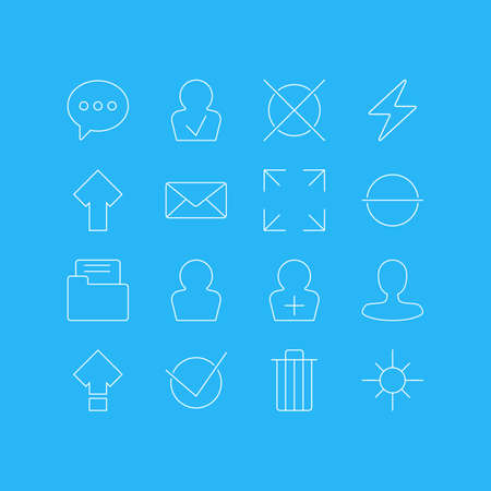 Illustration Of 16 User Interface Icons. Editable Pack Of Register Account, Wide Monitor, Avatar And Other Elements. 일러스트