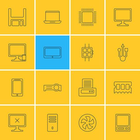Vector Illustration Of 16 Notebook Icons. Editable Pack Of Mainframe, Printer, Access Denied And Other Elements.