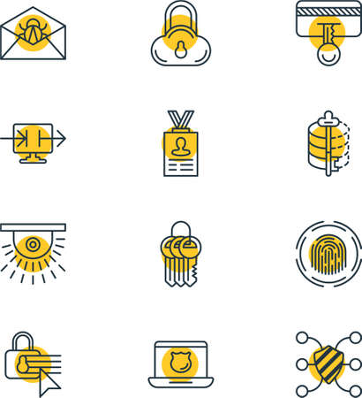 pad: Vector Illustration Of 12 Internet Security Icons. Editable Pack Of Safeguard, Camera, Confidentiality Options And Other Elements.