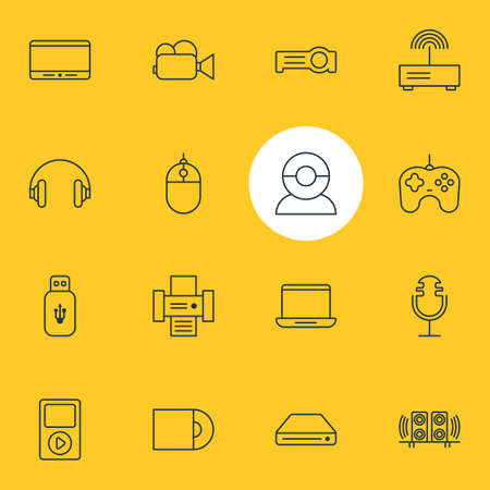 Vector Illustration Of 16 Gadget Icons. Editable Pack Of Photocopier, Floodlight, Cursor Controller And Other Elements.