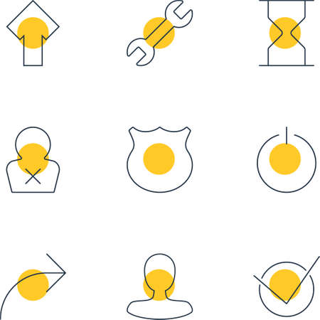 Vector Illustration Of 9 User Interface Icons. Editable Pack Of Switch Off, Upward, Yes And Other Elements.