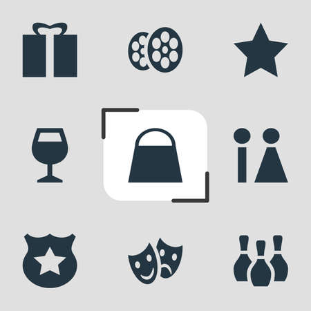 dealing: Vector Illustration Of 9 Location Icons. Editable Pack Of Handbag, Masks, Bookmark Elements. Illustration