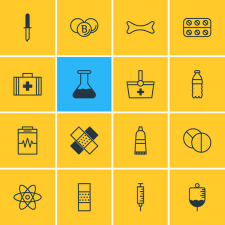 diastolic: Vector Illustration Of 16 Health Icons. Editable Pack Of Pipette, Basket, Elements.