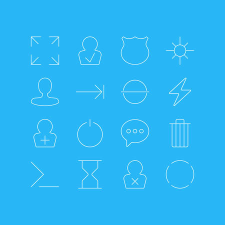 Vector Illustration Of 16 UI Icons. Editable Pack Of Banned Member, Wide Monitor, Garbage And Other Elements.