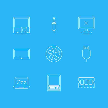 Vector Illustration Of 9 Notebook Icons. Editable Pack Of Tablet, Cooler, Gadgets And Other Elements. Illustration