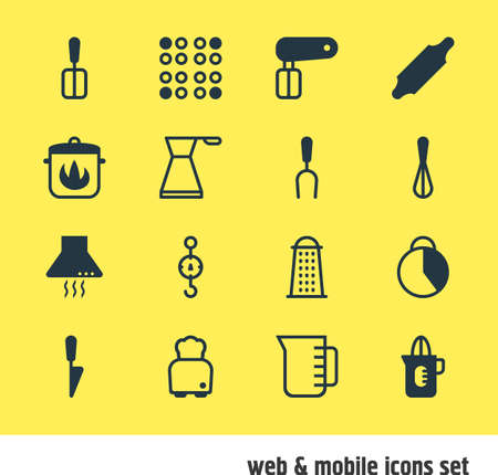 Vector Illustration Of 16 Kitchenware Icons. Editable Pack Of Kettle, Stewpot, Extractor Appliance And Other Elements. Illustration